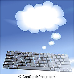Cloud computing floating computer keys think bubble...