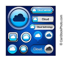Cloud computing high-detailed modern buttons. - Cloud...