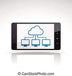 cloud computing icon on mobile phone