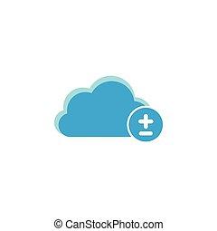 Cloud computing icon, plus minus icon