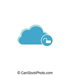 Cloud computing icon, unlocked icon