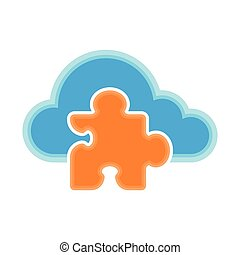 Cloud computing icon with a puzzle piece symbol