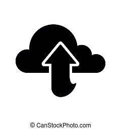 Cloud computing icon with an upload arrow
