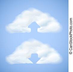 Cloud computing icon with arrow