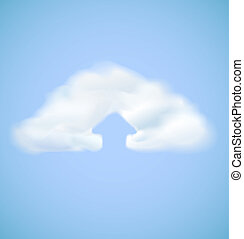 Cloud computing icon with arrow upload