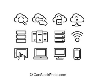 Cloud computing icons - Cloud computing and computer network...