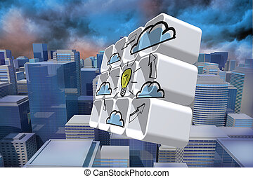 Cloud computing idea cycle on abstract screen against digitally generated cityscape