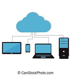 Cloud computing illustration - Abstract cloud computing...