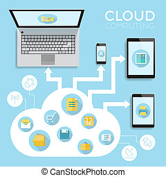 Cloud computing infographics concept. Vector eps10 with...