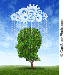 Cloud computing intelligence growth as a green tree in the shape of a human head growing intelligent from information raining down from an internet server cloud made of gears and cogs of data to educate and train.
