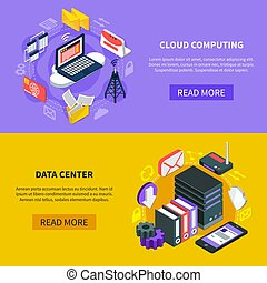 Cloud Computing Isometric Banners