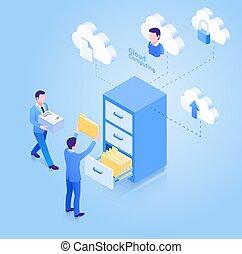 Cloud computing isometric concept. Vector Illustration.