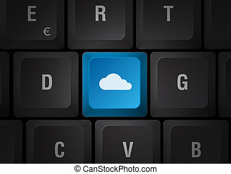 Cloud computing keyboard - Black keyboard with blue touch...