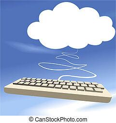 Cloud computing keyboard on blue sky background
