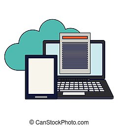 cloud computing laptop and tablet with documents