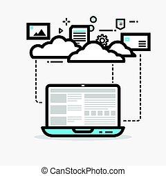 Cloud computing line vector