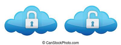 cloud computing lock and unlock illustration design over...