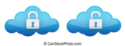 cloud computing lock and unlock illustration design over...