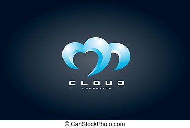 Cloud computing logo icon design