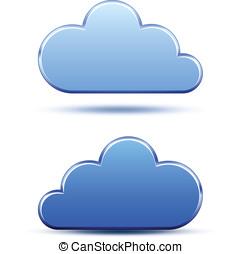 Cloud computing logo template - Blue metallic cloud icons....