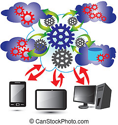 Cloud Computing Network - Vector Illustration of Cloud...
