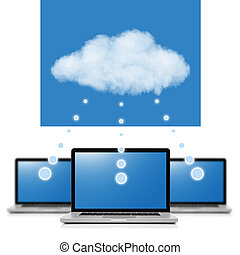Cloud computing network concept. Notebooks linked with cloud isolated on white
