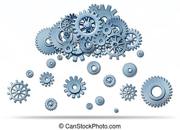 Cloud computing network symbol with a cloud and rain or snow...