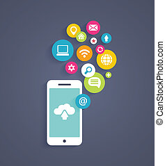 Cloud computing on a mobile phone - Vector illustration...