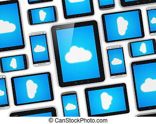 Cloud computing on mobile devices concept - Creative ...