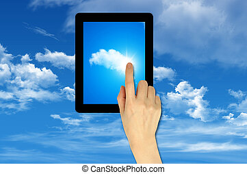 Cloud computing on touch pad Concept