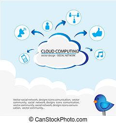 cloud computing over sky background vector illustration