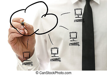 Cloud computing pictogram on a virtual interface - Male hand...