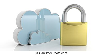 Computer cloud and padlock isolated on white background. 3d illustration