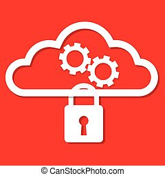 Cloud computing security concept a key lock on cloud with gear. Vector illustration.