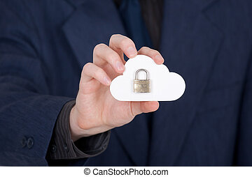 Cloud computing security concept. Hand giving secure cloud ...