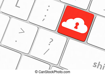 Cloud computing security concept on blue keyboard