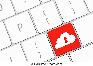 Cloud computing security concept on blue keyboard button close-up