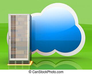 Cloud computing - Server cloud computing. 3D rendered...