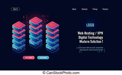 Cloud computing, server room rack isometric icon, big data processing, database data center, blockchain concept dark neon