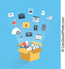 Flat design style modern vector illustration concept of cloud computing technology service, web data storage and archive, information hosting and business document access via internet communication. Isolated on stylish colored background.