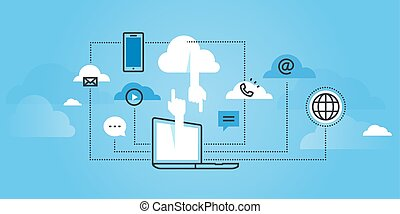 Flat line design website banner of cloud computing services. Modern vector illustration for web design, marketing and print material.
