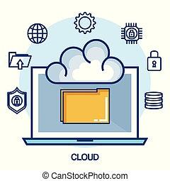 cloud computing set flat icons