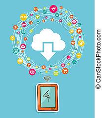 Cloud computing smart phone concept