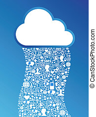 Cloud computing social media network background - Cloud...