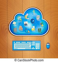 Cloud computing solution for business concept - Business...