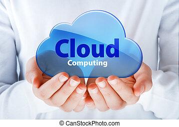 cloud computing - hands exhibiting the cloud computing...