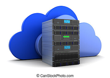 cloud computing - 3d illustration of server computer and...