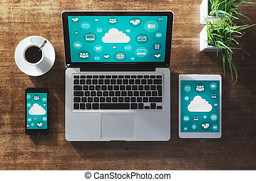 Cloud computing and social network interface on a laptop,...