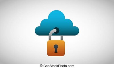 cloud computing storage data security digital animation