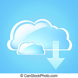 cloud computing symbol light blue